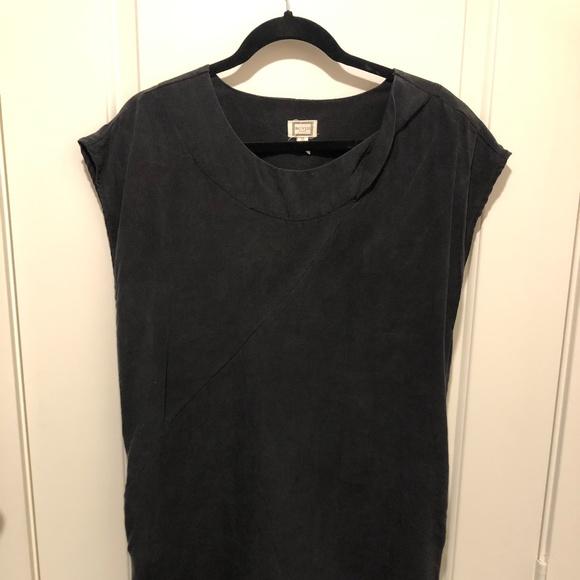 Washed Black Sleeveless Shift Dress